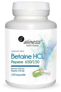 ALINESS Betaine HCL 650mg HOMOCYSTEINA 100 kapsułek